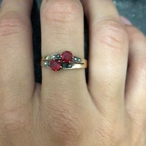 Antique Yellow Gold Ruby/Pearl Ring 1920s